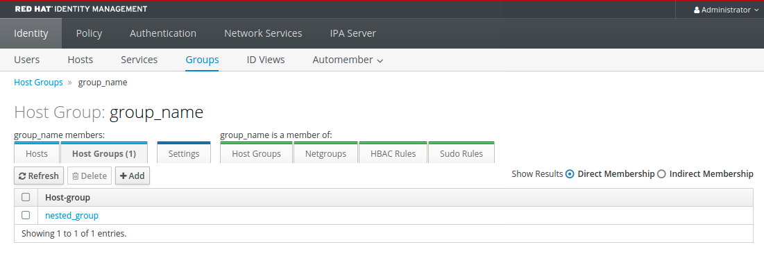"""A screenshot of the """"Groups"""" page displaying details about the """"group_name"""" host group."""