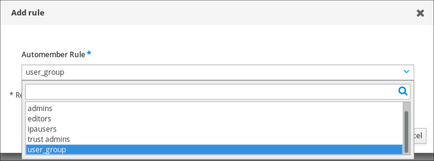 """Screenshot of the """"Add Rule"""" window displaying the drop-down field for the Automember Rule where you can choose between rules you have previously defined."""