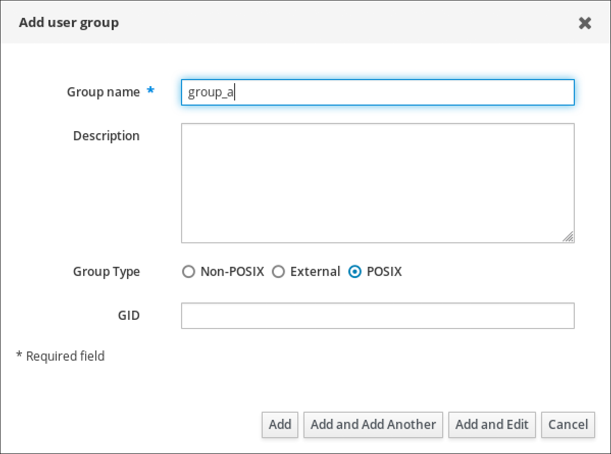 """Screenshot of the """"Add user group"""" pop-up window with the following fields: Group name (which is a required field) - Description - Group Type - GID. The """"Add"""" button is at the bottom."""