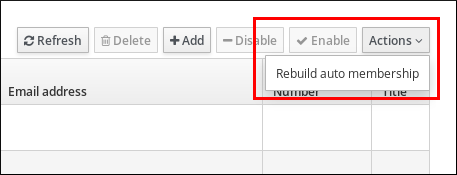 """A screenshot highlighting that """"Rebuild auto membership"""" is an option from the """"Actions"""" drop-down menu."""