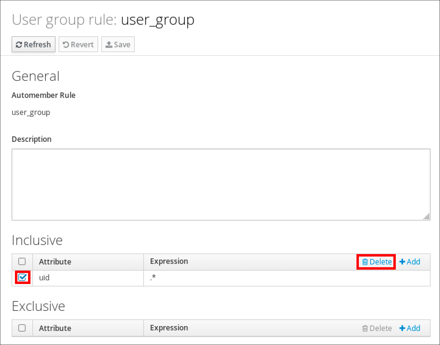 """A screenshot of the """"User group rule"""" page displaying information for """"user_group"""". An entry in the """"Inclusive"""" section has its checkbox checked and the """"Delete"""" button that pertains to the """"Inclusive"""" section is highlighted."""
