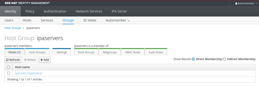 """A screenshot of the """"Groups"""" page displaying details about the """"ipaservers"""" host group."""