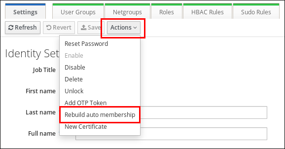 """A screenshot highlighting the """"Rebuild auto membership"""" option among many others in the contents of the """"Actions"""" drop-down menu."""