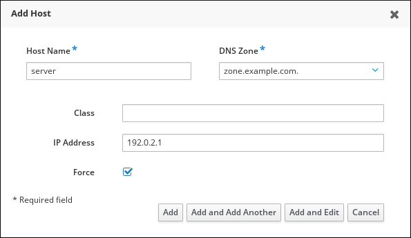 Screenshot of the Add Host Wizard with the following fields populated: Host name - DNS Zone - IP Address