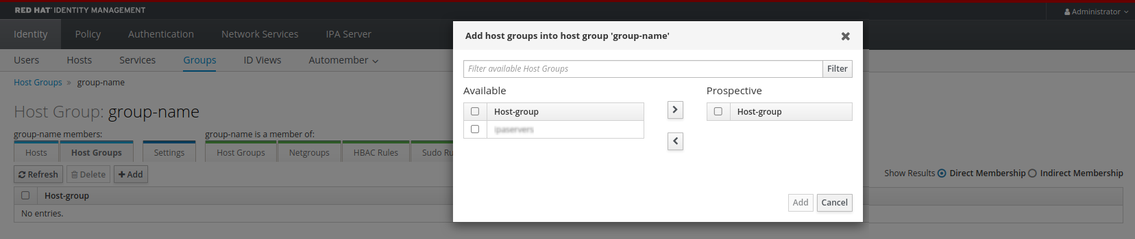 """Screenshot of the """"Add host groups into host group group-name"""" pop-up window which lets you select from """"Available host groups"""" on the left to add to a """"Prospective"""" list on the right. There is an """"Add"""" button at the bottom-right of the window."""
