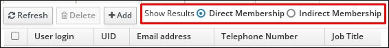 """A screenshot showing radial buttons next to the """"Direct Membership"""" and """"Indirect Membership"""" options next to """"Show Results."""""""