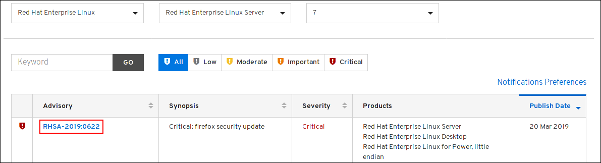 customer portal list security advisories