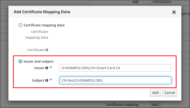 """Screenshot of the """"Add Certificate Mapping Data"""" pop-up window with two radial button options: """"Certificate mapping data"""" and """"Issuer and subject."""" """"Issuer and subject"""" is selected and its two fields (Issuer and Subject) have been filled out."""