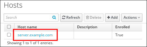 """A screenshot of the """"Hosts"""" page displaying a table of hosts and their attributes: """"Host name"""" - """"Description"""" - """"Enrolled."""" The hostname for the first entry is highlighted."""