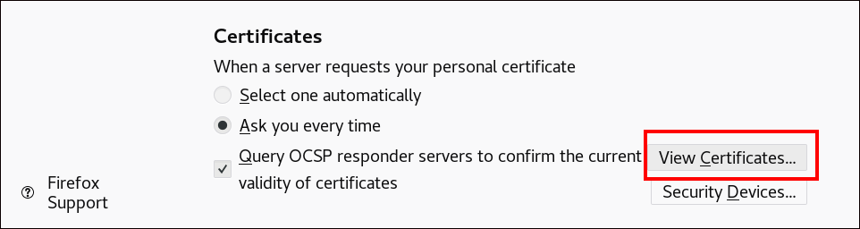 """A screenshot of the """"Certificates"""" section and the """"View Certificates"""" button at the bottom right is highlighted."""