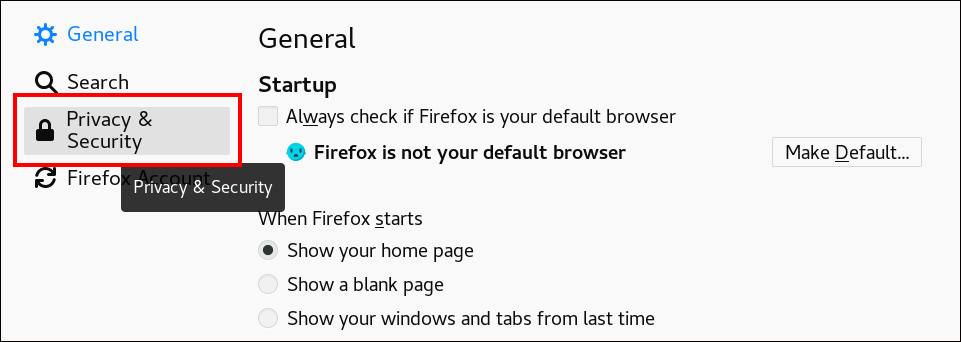 """Screenshot of the Firefox settings page and the """"Privacy & Security"""" option is highlighted."""