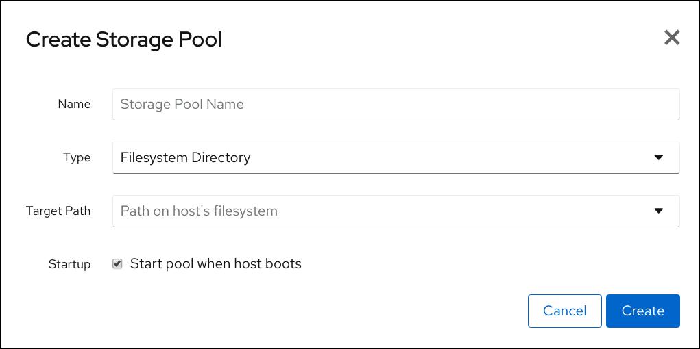 cockpit create storage pool