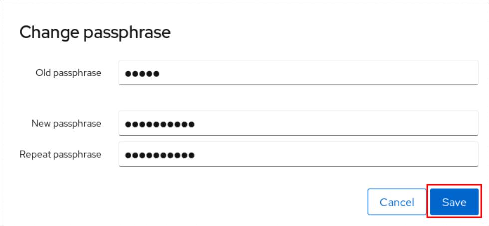 cockpit change passphrase menu