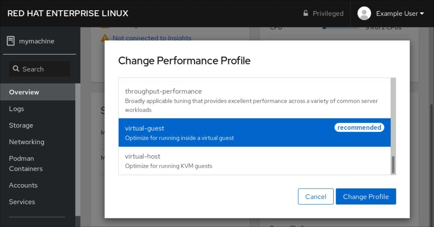 cockpit performance profile change pf4