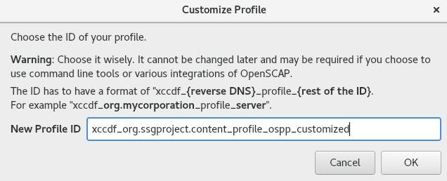 新しいプロファイルの ID の選択