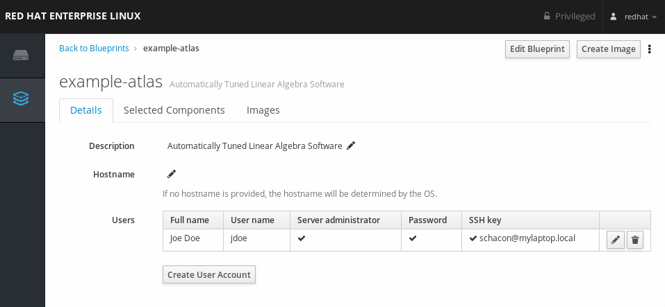 image builder user account created