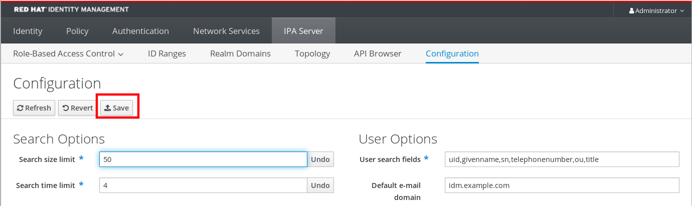 """Screenshot of the IdM Web UI highlighting the Save button which is below the """"Configuration"""" title at the top of the Configuration page"""