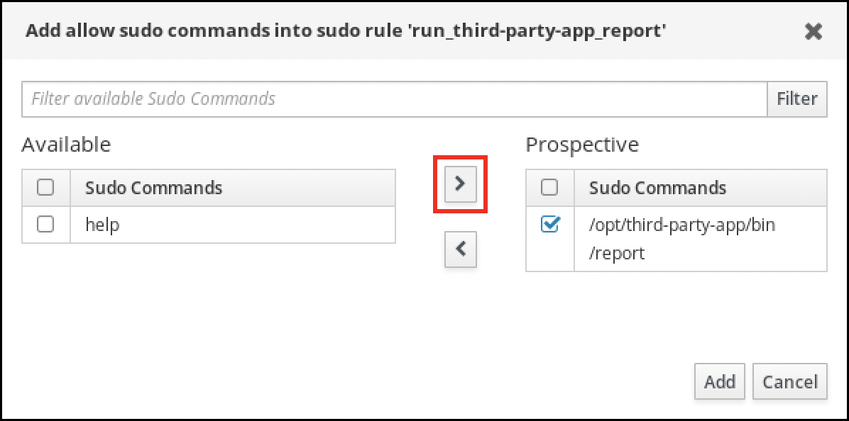 """A screenshot of a pop-up window labeled """"Add allow sudo commands into sudo rule."""" You can select sudo commands from an Available list on the left and move them to a Prospective column on the right. The bottom-right of the window has two buttons: """"Add"""" - """"Cancel""""."""