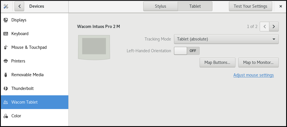 Wacon tablet settings