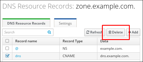 """A screenshot of the """"DNS Resource Records"""" page displaying information for the zone.example.com zone. The entry for the """"dns"""" record name has been chosen and the """"Delete"""" button at the top right is highlighted."""