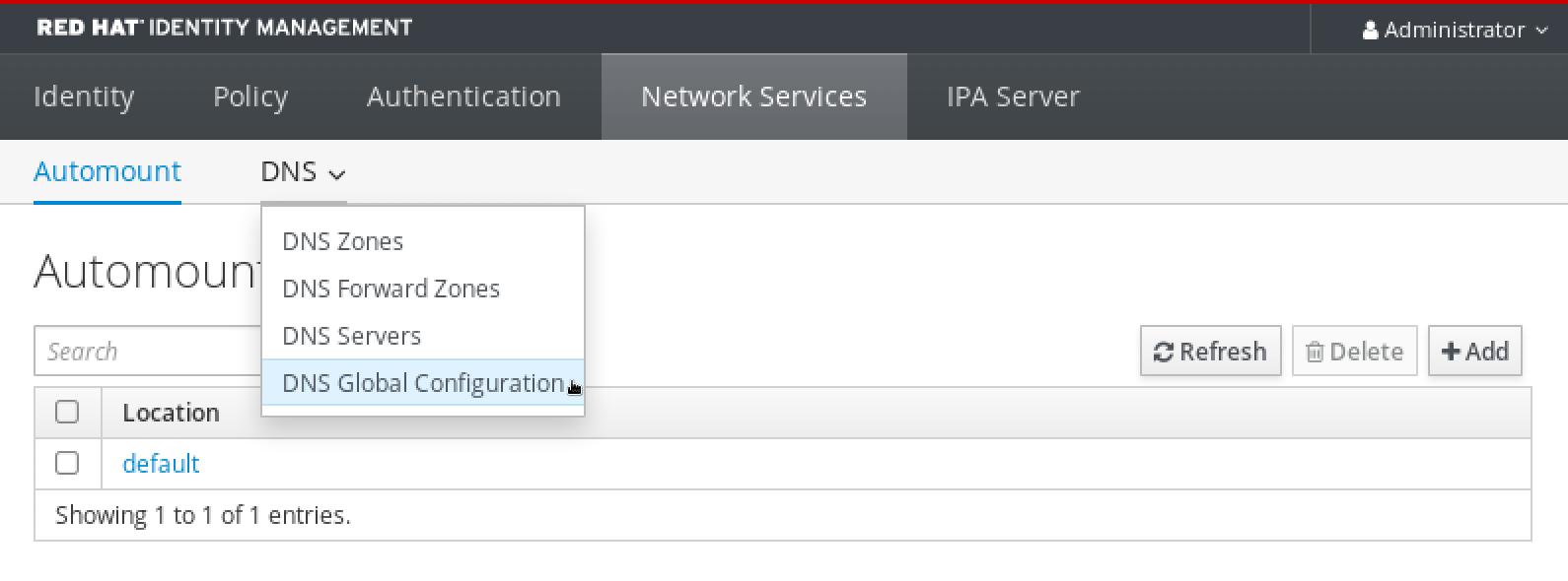 DNS メニューからの DNS 正引きゾーンの選択