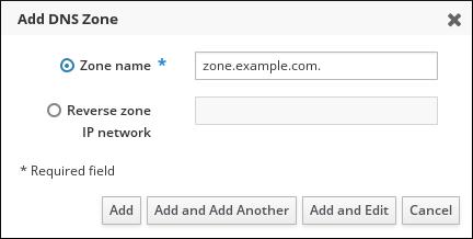 ユーザーが「Add DNS Zone」ポップアップウィンドウのゾーン名のフィールドに zone.example.com. などのゾーン名を入力したことを示すスクリーンショット。