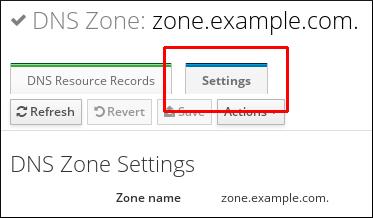 プライマリーゾーンの編集ページの設定タブが強調表示されているスクリーンショット