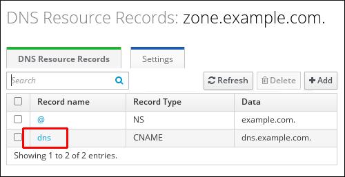 zone.example.com ゾーンの情報を表示する「DNS Resource Record」ページのスクリーンショット。「dns」レコード名のエントリーが強調表示されています。