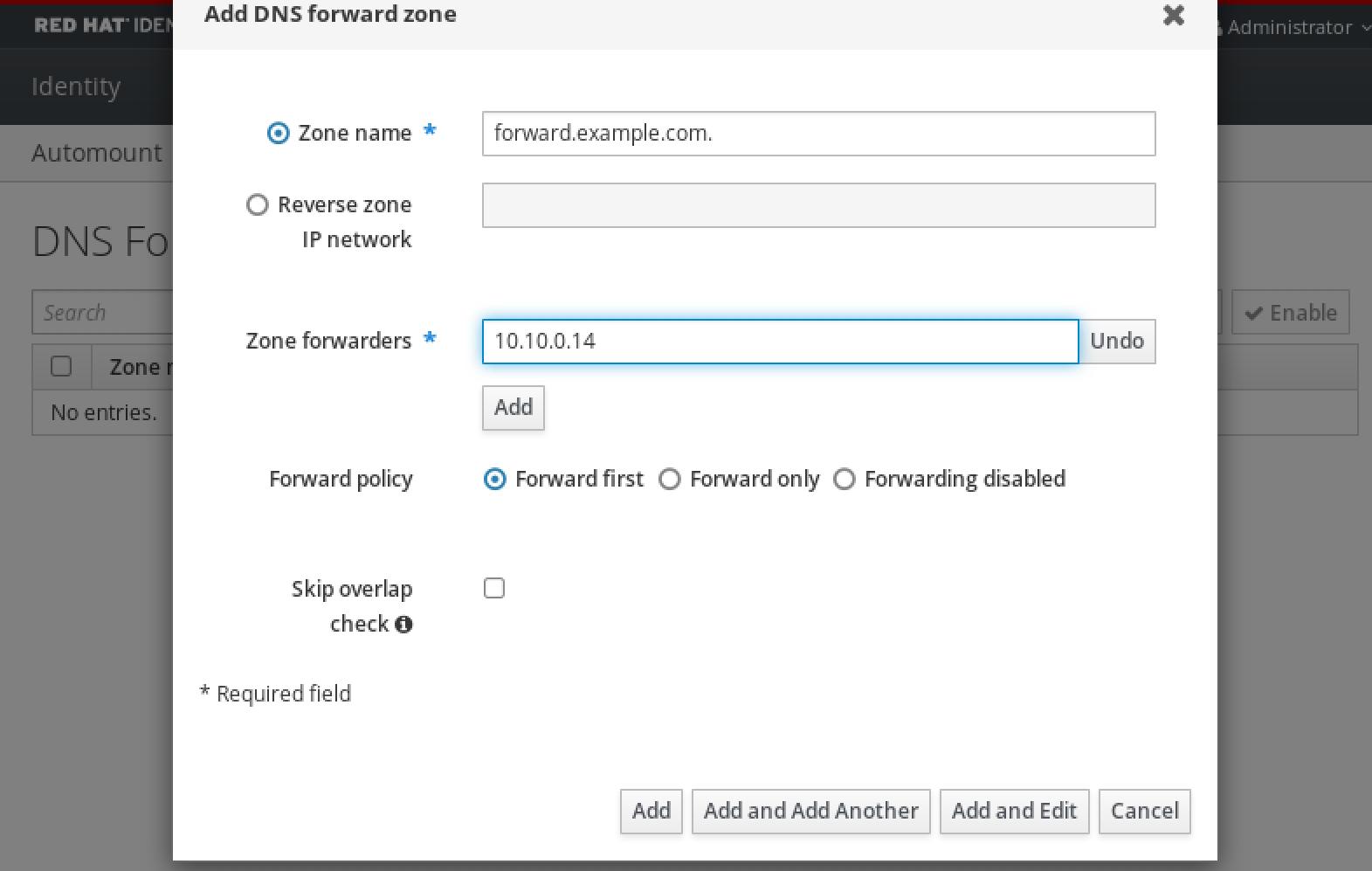 フォワーダー DNS サーバーの IP アドレスの指定