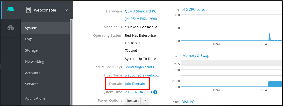 """Screenshot of the webconsole displaying details for the system and a """"Domain"""" entry has a link for """"Join Domain."""""""