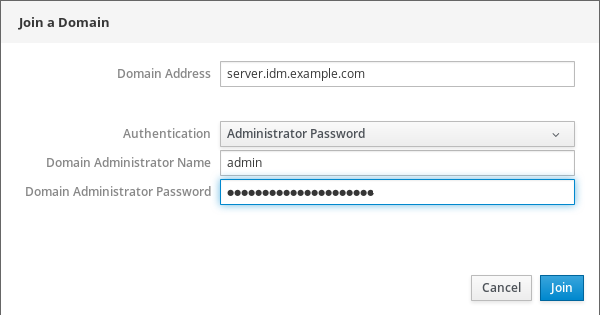 """A screenshot of the """"Join a Domain"""" pop-up window with a field for """"Domain Address"""" with a fully-qualified host name and the """"Authentication"""" has been set to """"Administrator Password."""" The """"Domain Administrator Name"""" has been filled in with """"admin"""" and the password specified for the """"Domain Administrator Password"""" field has been obfuscated with circles representing each character."""