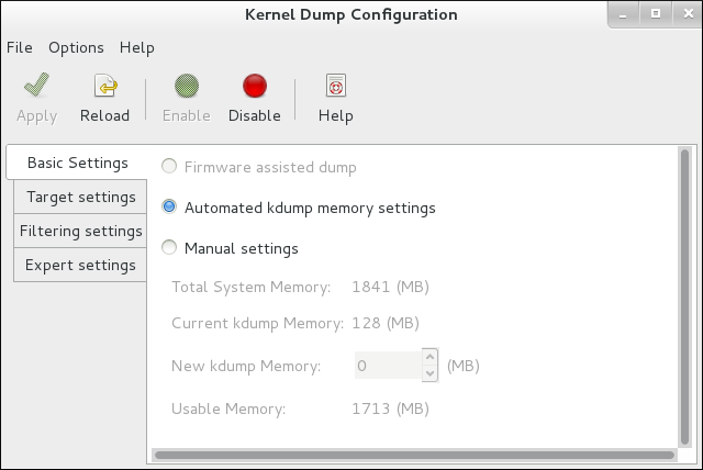Kdump System Tool - Basic Settings