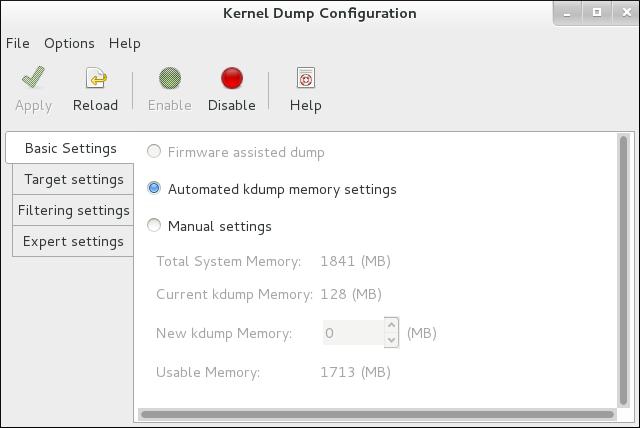 kdump システムツール: 基本設定