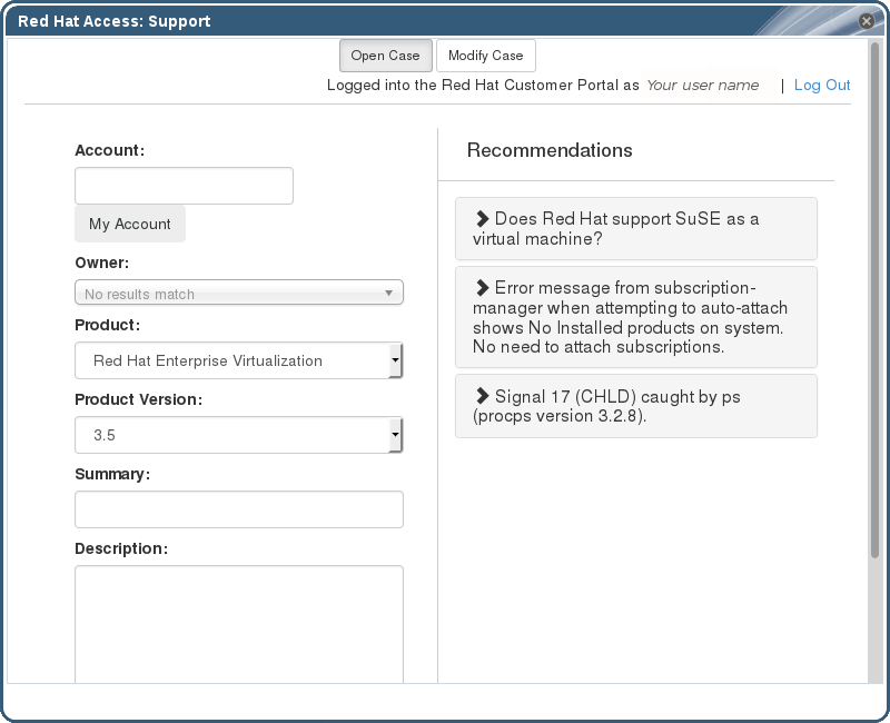 Red Hat Support Plug-in Opening a New Support Case