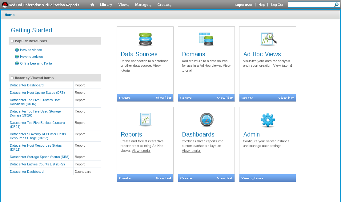 Red Hat Enterprise Virtualization Reports のメイン画面