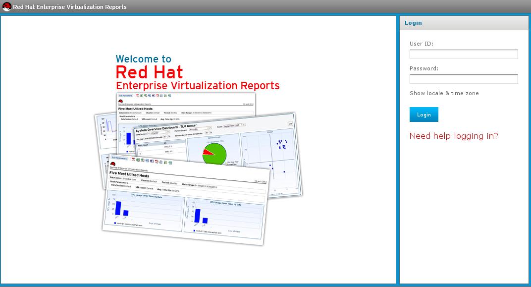 Red Hat Enterprise Virtualization Reports のログイン画面