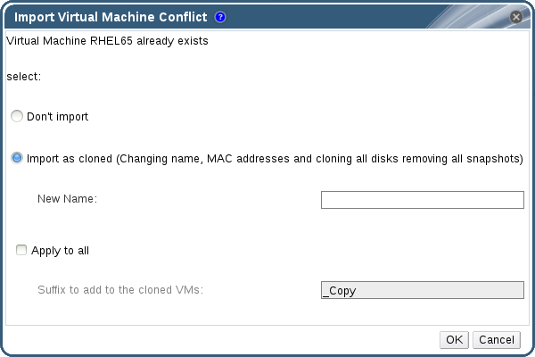 Import Virtual Machine Conflict Window