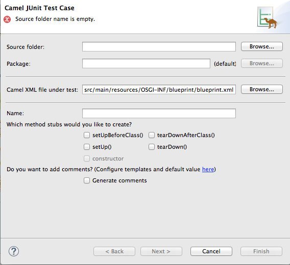 Entry page of the New Camel JUnit Test Case wizard