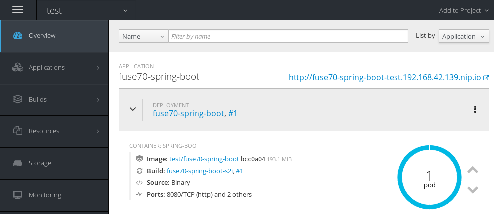 OpenShift console test namespace overview showing fuse72-spring-boot application and associated pods