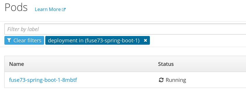 List of pods associated with the fuse73-spring-boot service
