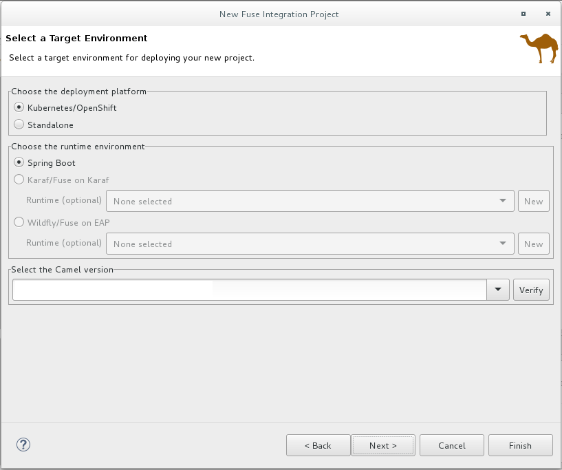 Select Target Runtime page