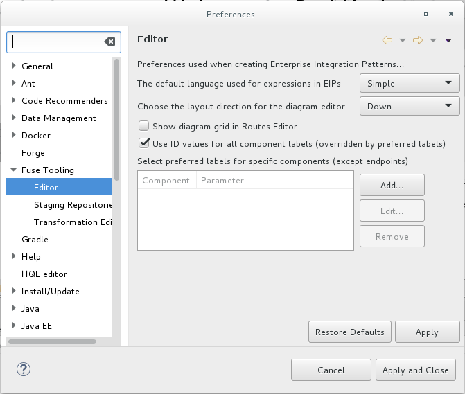 Editor Preferences - Use ID values option