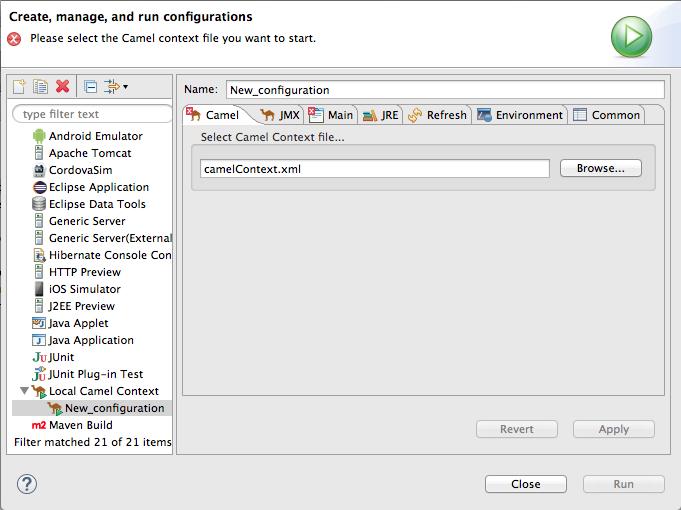 Local camel context runtime configuration editor