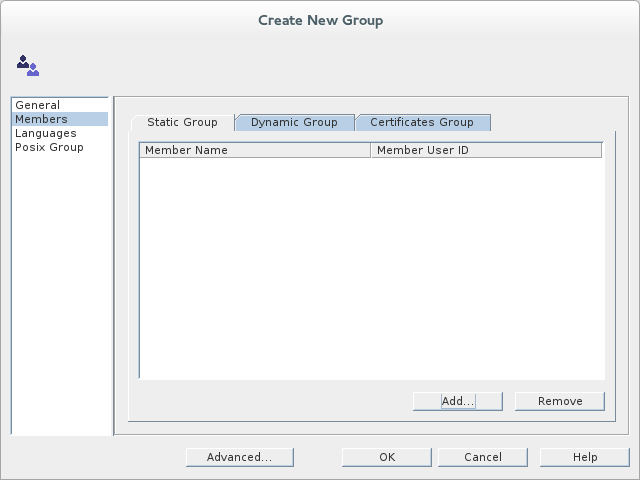 Filling the fields of the Members tab in the Create New Group dialog