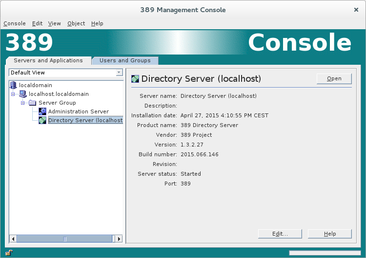 LDAP Console Open