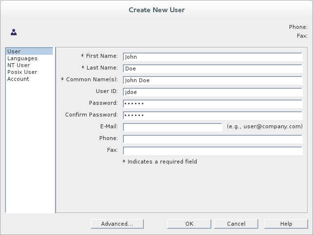 Filling the fields of the User tab in the Create New User dialog