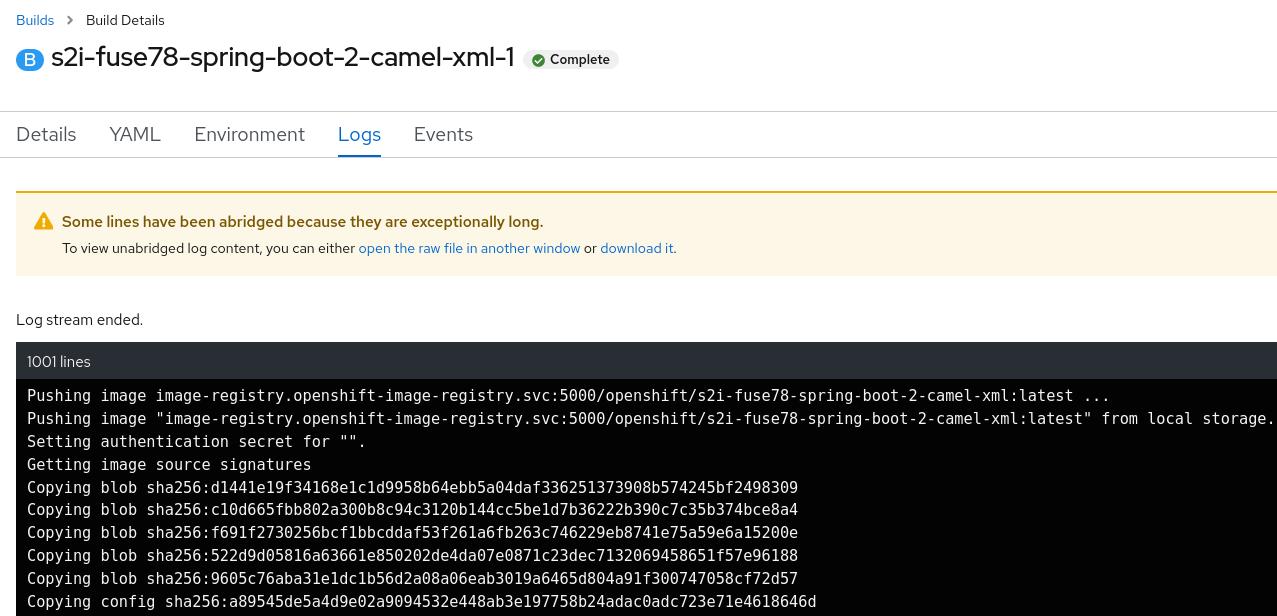 Spring Boot Camel XML build logs