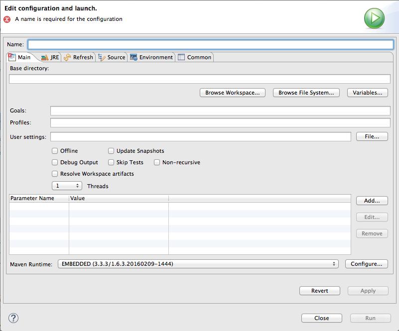 Maven runtime configuration editor