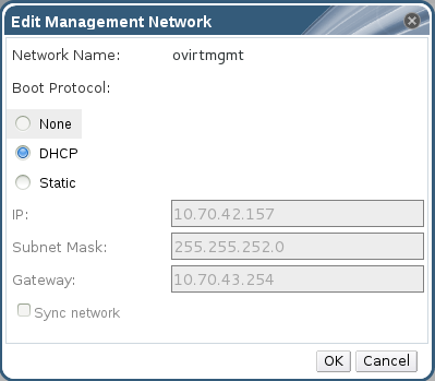 Edit Management Network Dialog Box