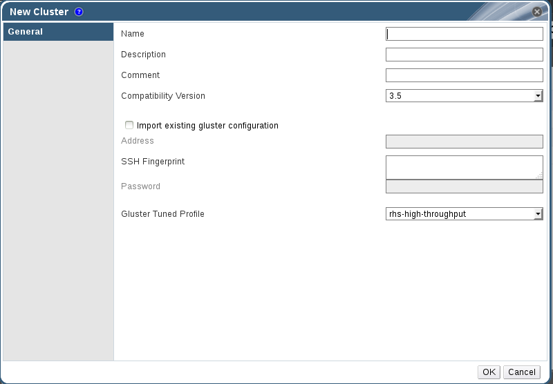 New Cluster Dialog Box